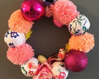 22cm Spring Pretty in Pink Kitsch Wreath