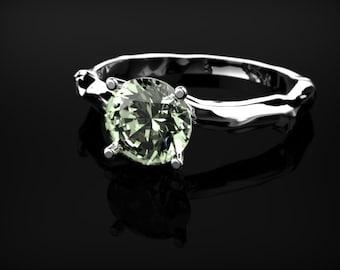 White Gold Prasiolite Leaf Ring Branch Ring Prasiolite Engagement Ring Green Amethyst Engagement Ring Gemstone Green Amethyst Ring