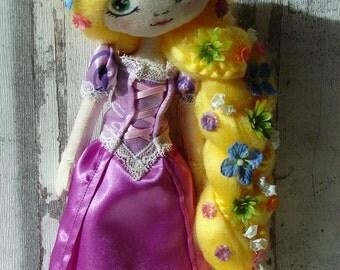 Rapunzel rag doll (doll, doll, ooak doll art doll handmade rag)
