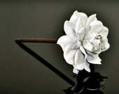 Statement wood floral hair stick, genuine leather rose & wooden hair fork, white rose flower hairfork, handmade accessory, hair jewelry