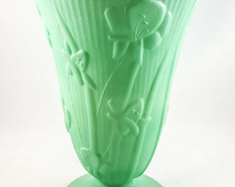 Beautiful Translucent Jade Milk Glass Pedestal Vase with Floral Relief