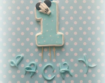 Fondant Candle Age number Mickey mouse and Fondant Name Disney lettering Birthday Cake topper Party decorations Gumpaste Boy baby shower