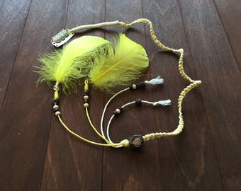 Feather Hair Clip Feather Hair Extension Clip in Dreads  with Yellow Feathers and Agate Dread Extension