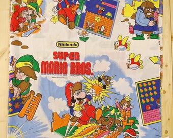 Vintage Super MARIO Bros. / The Legend of ZELDA Twin Size Flat Sheet  / 1988 / Retro Collectable Rare