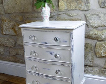 Elegant vintage handpainted restyled white bow fronted 4 drawer unit