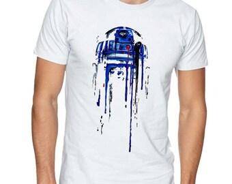R2D2 Star Wars Paint Splash T-Shirt- Funny Nerd Movie Fan Tee Premium Quality Gildan T-Shirts