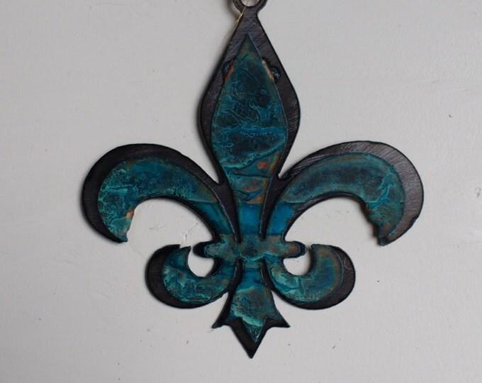 Patina Fleur de Lis Ornament