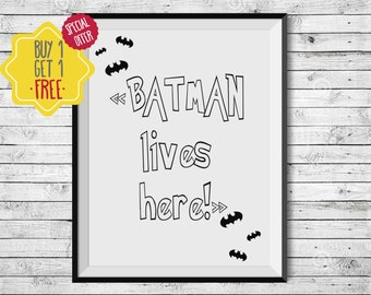 Batman gifts, Superhero, Kids prints, Boys room decor, Little boy gift, Printable, Monochrome nursery, Hero signs, Black and white prints
