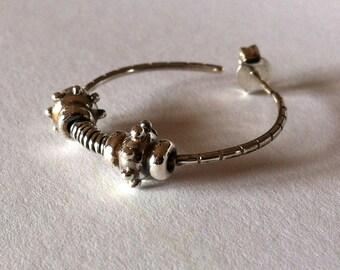 Handmade earrings, sterling silver earrings, spiked earrings, adorned earrings, hoop earrings