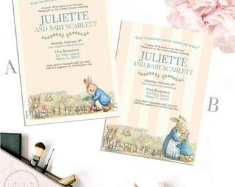 Peter Rabbit Baby Shower Invitation, Peter Rabbit Invitation, Girl Baby Shower Invitation, Storybook Baby Shower Invitation