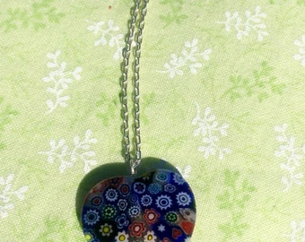 Murano Glass Millefiori Multicolored Heart necklace