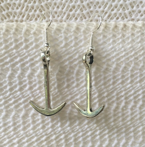 Anchor Antique Silver Earrings