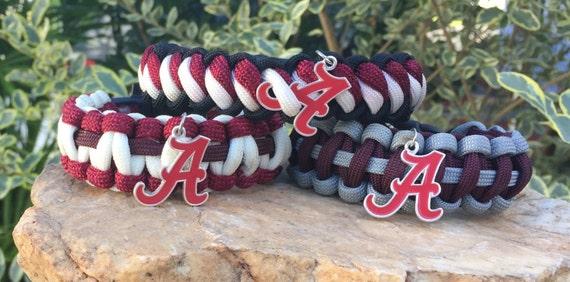 Alabama Crimson Tide Paracord Bracelet, many Crimson Tide color choices