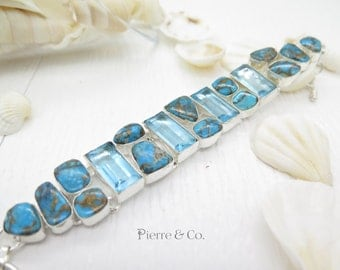 Swiss Blue Topaz and Turquoise Sterling Silver Bracelet