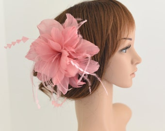 Wedding Fascinator, Bridal Hair Comb,Wedding Hair Comb,Feather Flower Comb Fascinator 30A (Pink)