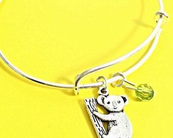 Koala Jewelry Gift, Koala Bear Charm Bracelet, Cute Animal Jewelry, Silver Bangle Bracelet,  Bangles, Bear Bracelet, Cute Animal Gift, Gift