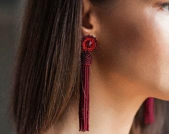 Matt burgundy red beaded tassel earrings Long tassel earrings Bridesmaid earrings Statement earrings BOHO tassel earrings Fringe earrings