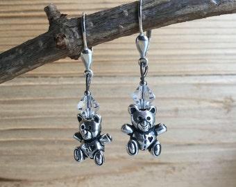 Teddy bear dangle  earrings, swarowski crystal beads, sterling silver lever back ear hooks, nickel free