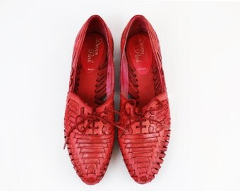 Vintage Faded Red Leather Woven Flats size 6 US Womens