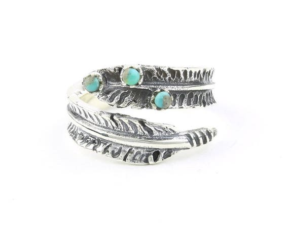 Sterling Silver Feather Turquoise Ring, Boho, Bohemian, Gypsy, Festival Jewelry, Gemstone, Southwestern