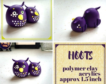 Hoots - oven baked, polymer clay; owls; figurine