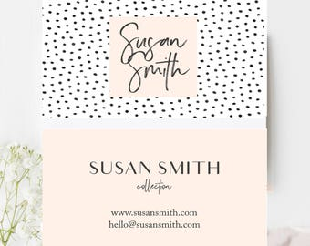 Custom business card design: Black dots Pink business card template011