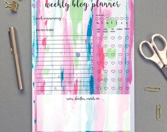 Weekly Blog Planner, A4 Weekly Planner Blog Notepad, Candy Stripes Design, Girl Boss Blogger Gift, Weekly Blog Planner Notepad, Blogger Gift