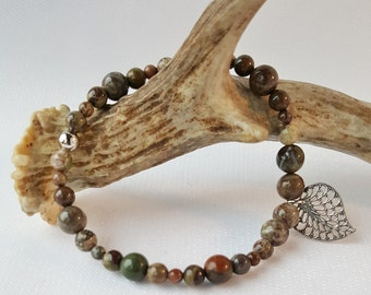 Rainforest Jasper Beaded Stretch Charm Bracelet, Gemstone Bracelet, Jasper Bracelet, Leaf Charm Bracelet