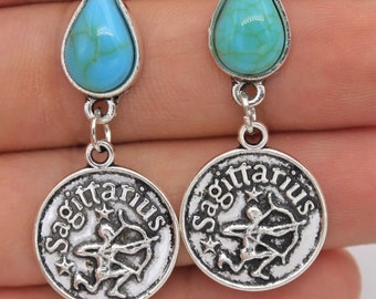Turquoise zodiac Safittarius earrings.  C66