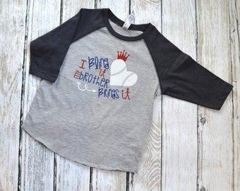 Baseball Sister Brother Brings It Gift for Sister, Sister Shirt, Bling Raglan, Girls Glitter Raglan, Sparkly Sister Shirt, Big Sister