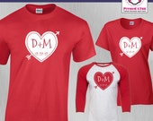 Couples Shirt Initial Hea...