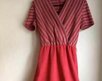 Vintage Red Striped Dress