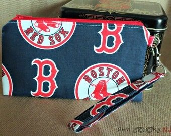 Boston Red Sox Wristlet -  BoSox Wallet - MLB Zippered Pouch - Clutch - Gift - Quick Shipping - OOAK - Custom Order