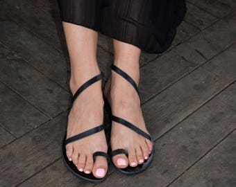 Black Sandals ''Moonlight'' | Black Leather Sandals | Grecian Sandals | Elegant Strappy Shoes