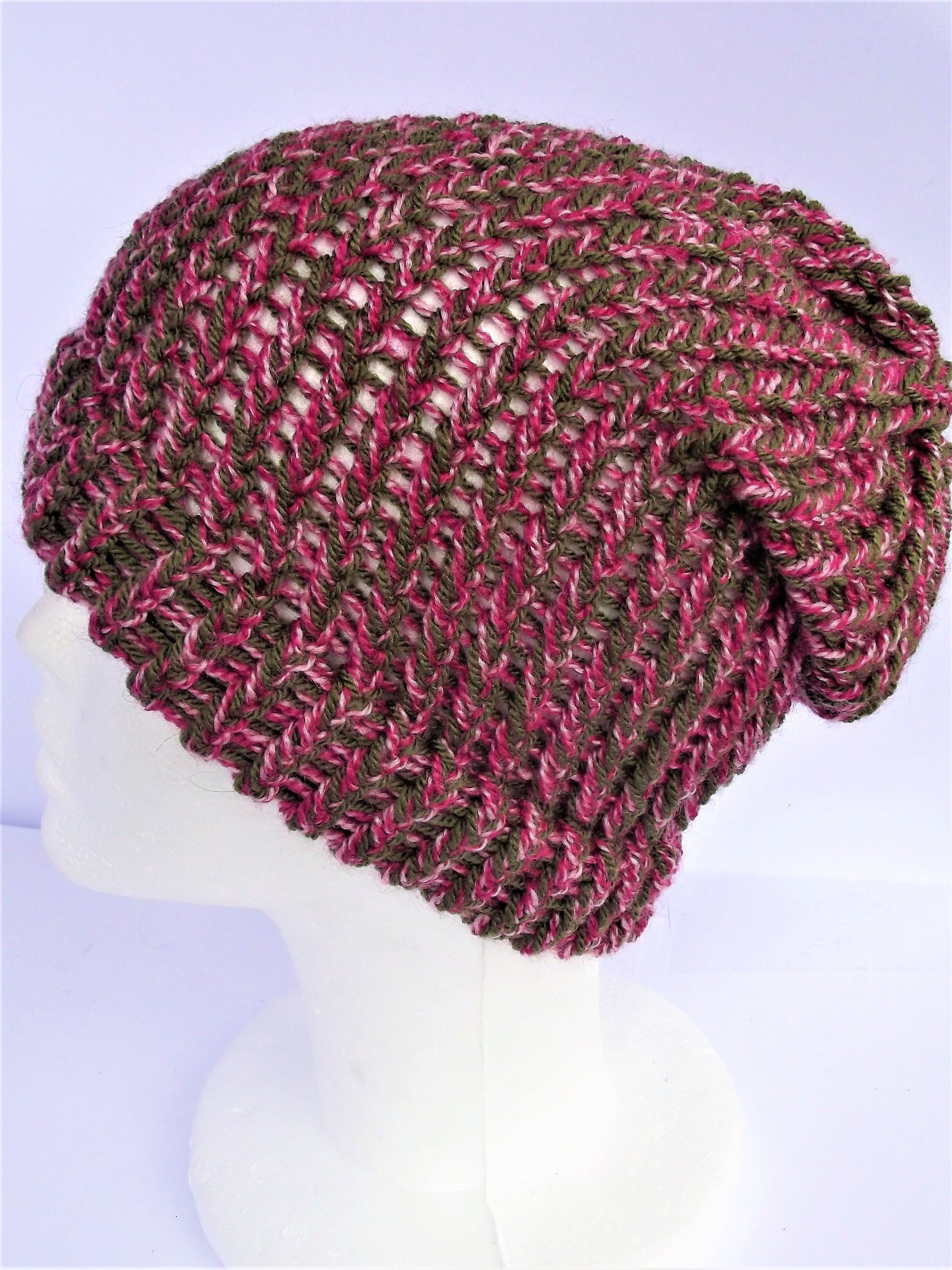 c4e9e340256 Pink and green hat boho slouchy hat pink beanie hat green jpg 2249x3000 Pink  and green