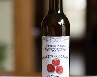 Customized Label - Raspberry Cordial, Liqueur, Raspberry Spirits, Raspberry Brandy, Raspberry Wine - Label for Your Homemade Liqueurs & Wine