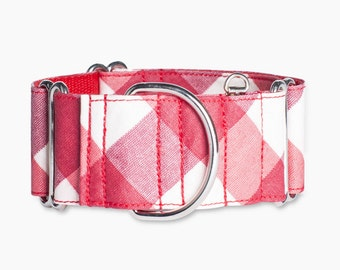 Dog Collar Red Vichy Martingale or metal buckle system
