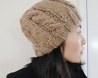 Knit Slouchy Beanie in Camel