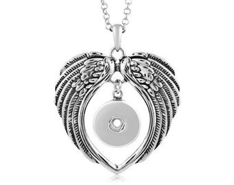Snap Jewelry Necklace - Angel Wings Snap Necklace, Silvertone. Fits 18-20mm Ginger snaps, Noosa, Magnolia & Vine, N3-V(A)