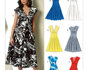 Sewing Pattern for Misses' RAISED-WAISTLINE DRESSES, Vogue Pattern 9103, Womens Dress Pattern, Easy Sew, Plus Sizes Avail