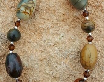 Oval Red Creek Jasper Gemstone and Sterling Silver Bracelet, Picasso Jasper and Sterling Silver Bracelet, with Swarovski Crystals