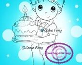 SALE Digital Stamp, Digi Stamp, digistamp, Birthday Benny by Conie Fong, Birthday, Boy, Car, Cake, Cupcake, Celebration