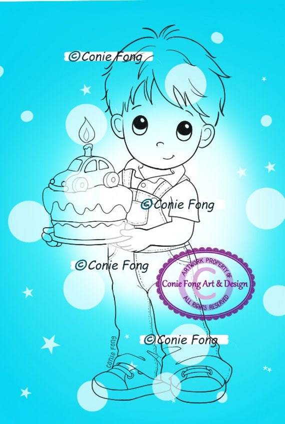 SALE Digital Stamp, Digi Stamp, digistamp, Birthday Benny by Conie Fong, Birthday, Boy, Car, Cake, Cupcake, Celebration