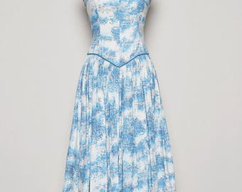 1950's Vintage Blue and White Day Dress