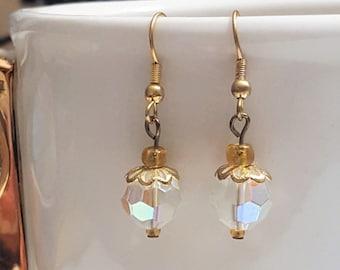 Clear Faceted Beaded Drop Earrings