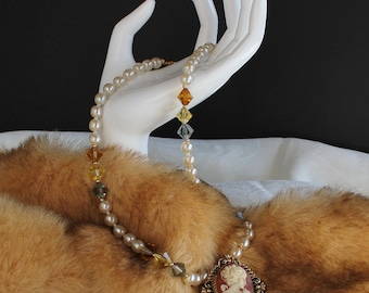 Pearl and Crystal Necklace Set with Vintage Cameo Pendant