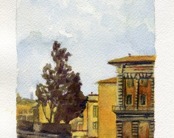 5x7 Original Watercolor Painting - Florence
