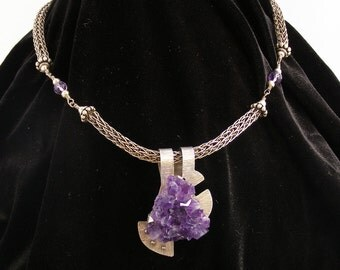 Sterling Statement Necklace - Uniquely Set Amethyst Crystal on Sterling Silver Pendant with Sterling Silver Viking Weave and Amethyst Beads