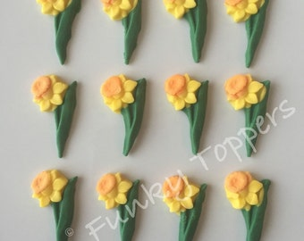 12 Edible Fondant Daffodils Cake Cupcake Toppers Spring flower Mothers Easter