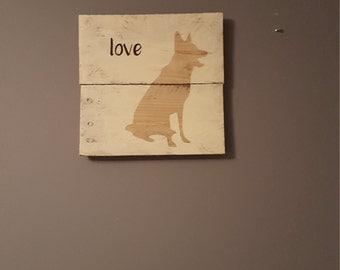 German Shepherd rustic wood sign, dog breed rustic wall hanging